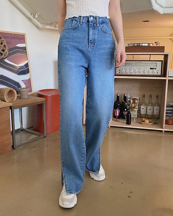 Natural washed slit denim pants