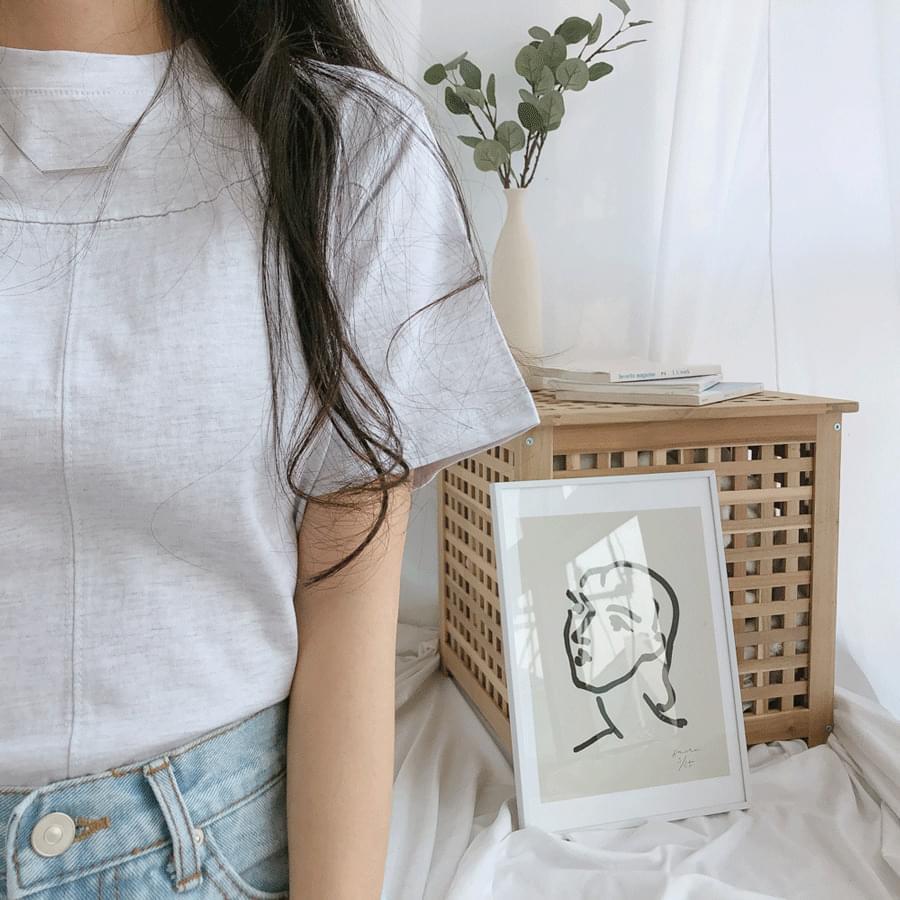 Silk cropped short-sleeved T-shirt 半袖