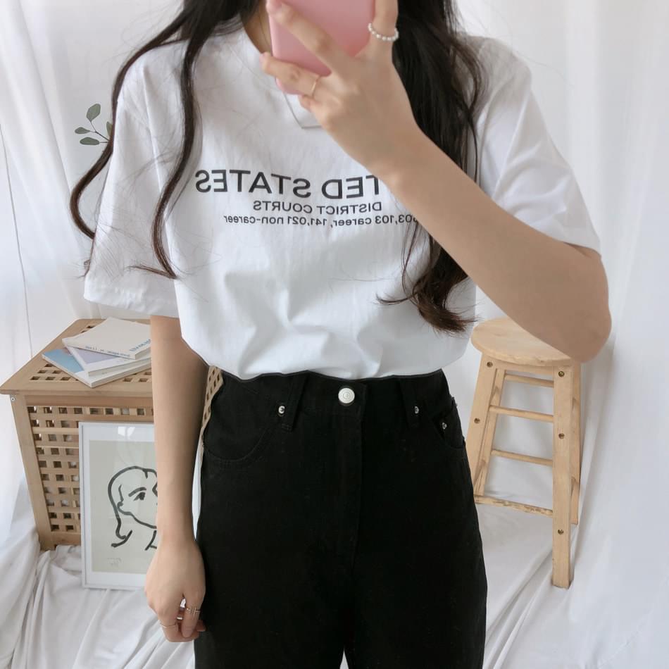 US lettering short sleeve t-shirt 半袖