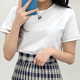 Crop stitch short sleeve tee Short Sleeve