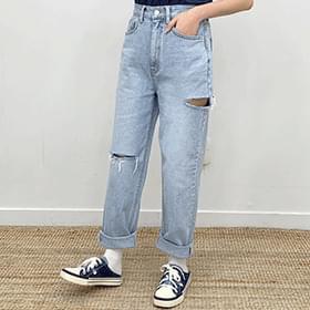 Boyfit washed denim trousers jeans