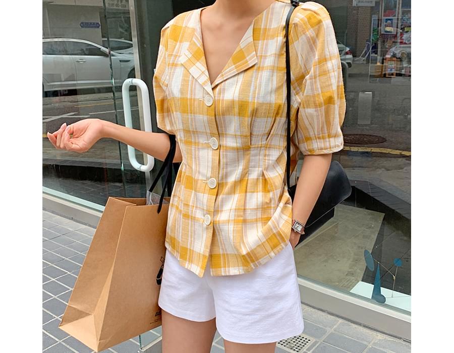 Check dart flare blouse_B (size : free)