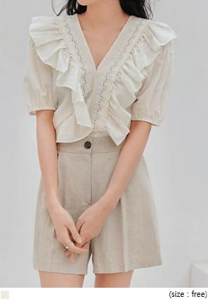 LUANG LACE FRILL PUFF 1/2 BLOUSE