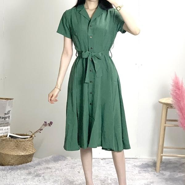 Eco Trench Collar Button Linen Long Dress coat