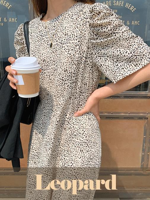 Shirring leopard flare long dress ワンピース