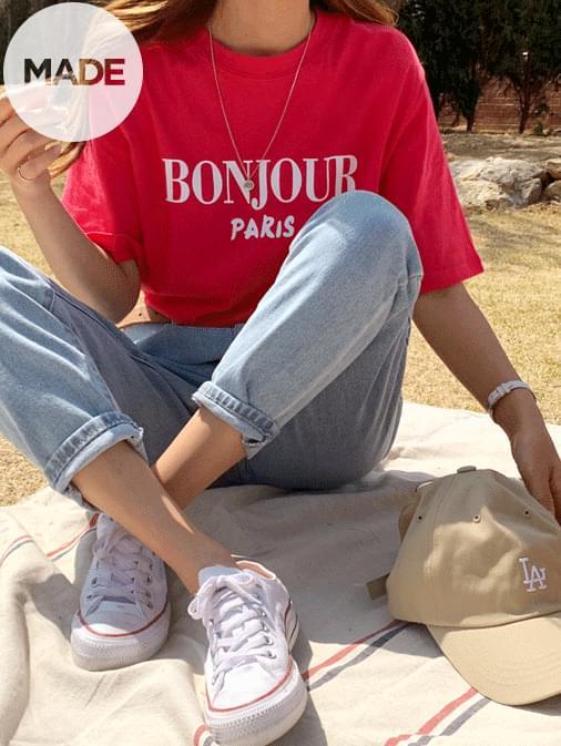Bonjourni lettering T-shirt 半袖