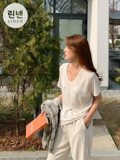 Soft linen U-neck t-shirt 半袖