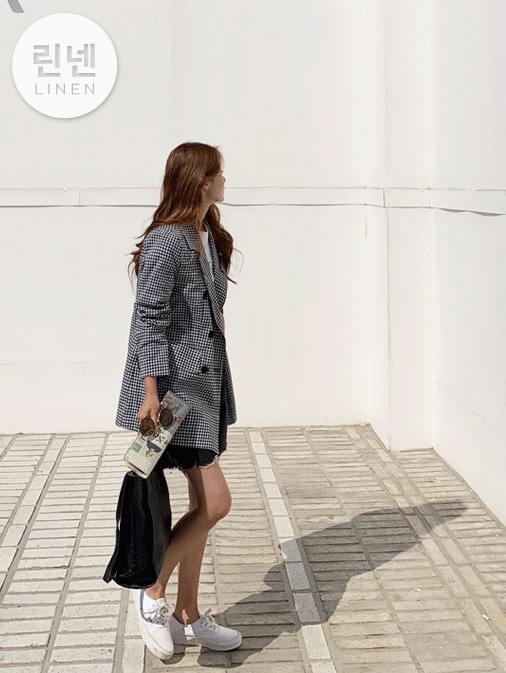 Oreo Linen Check Overfit Jacket ジャケット