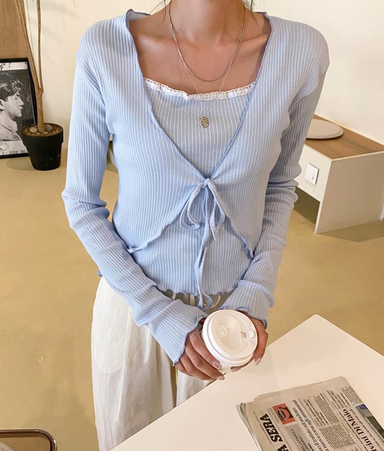 韓國空運 - V領捲邊純色開衫+滾邊背心 針織外套