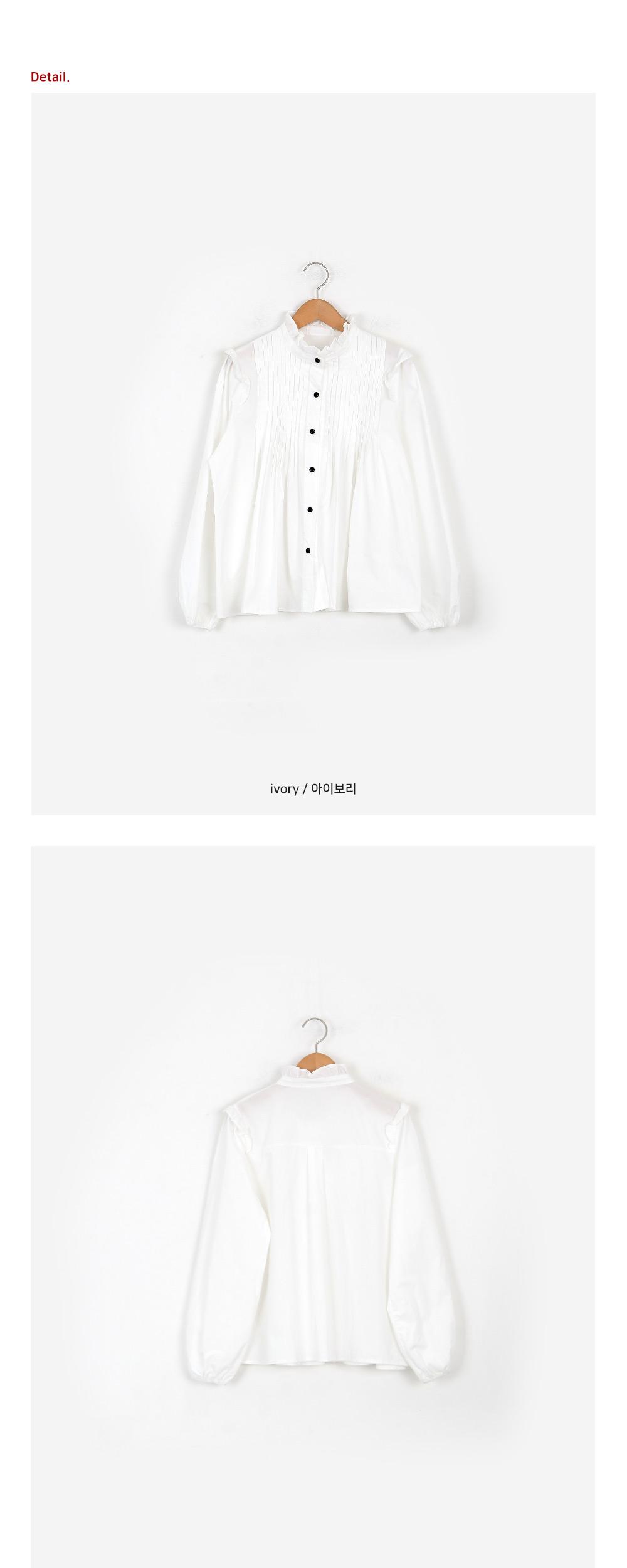 Ruffle collar pleated blouse