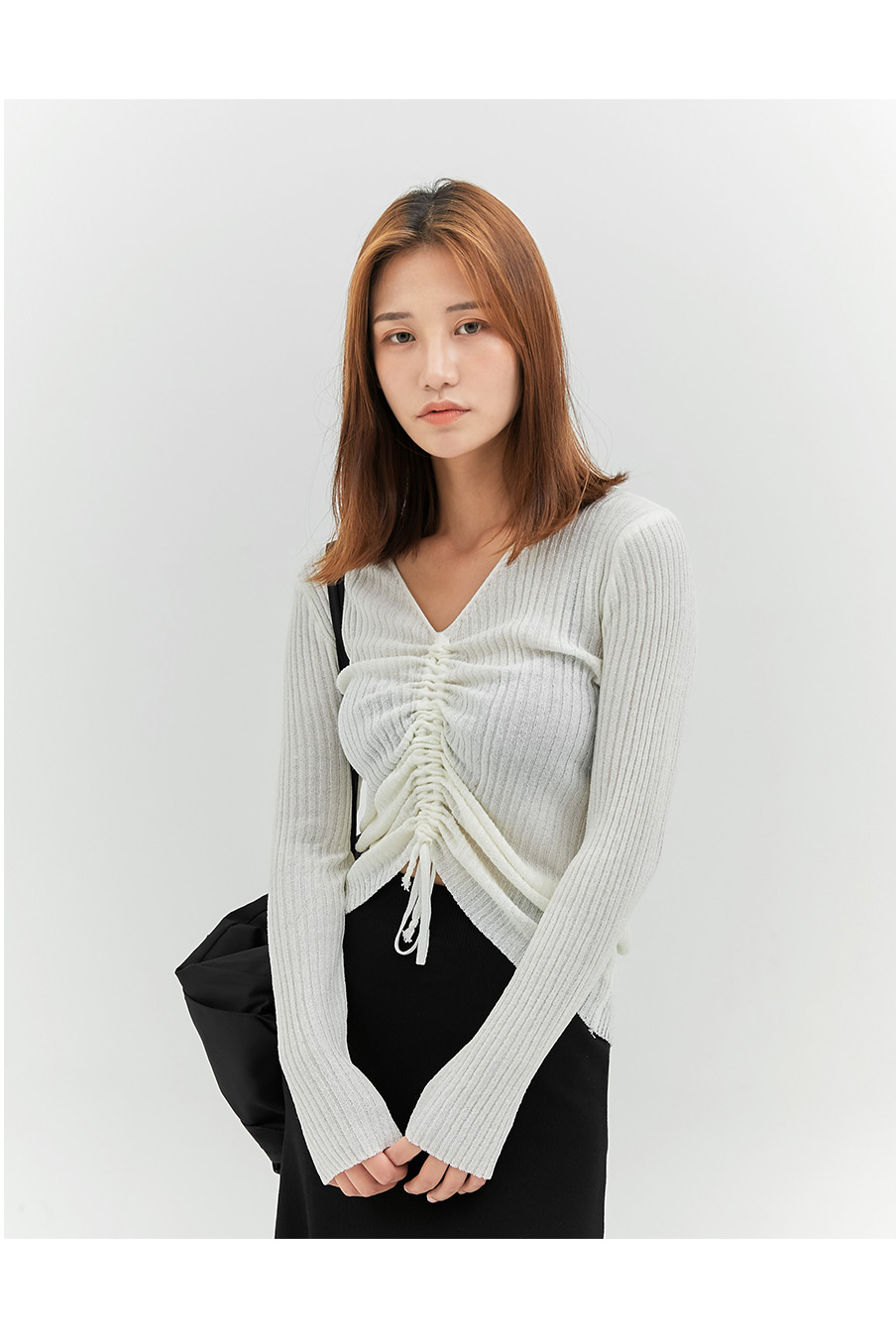 SALE) Point string knit T-shirt
