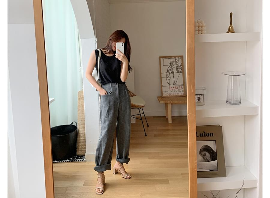 Once simple linen sleeveless_Y (size : free)