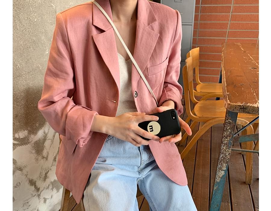 Sand linen single jacket_S (size : free)