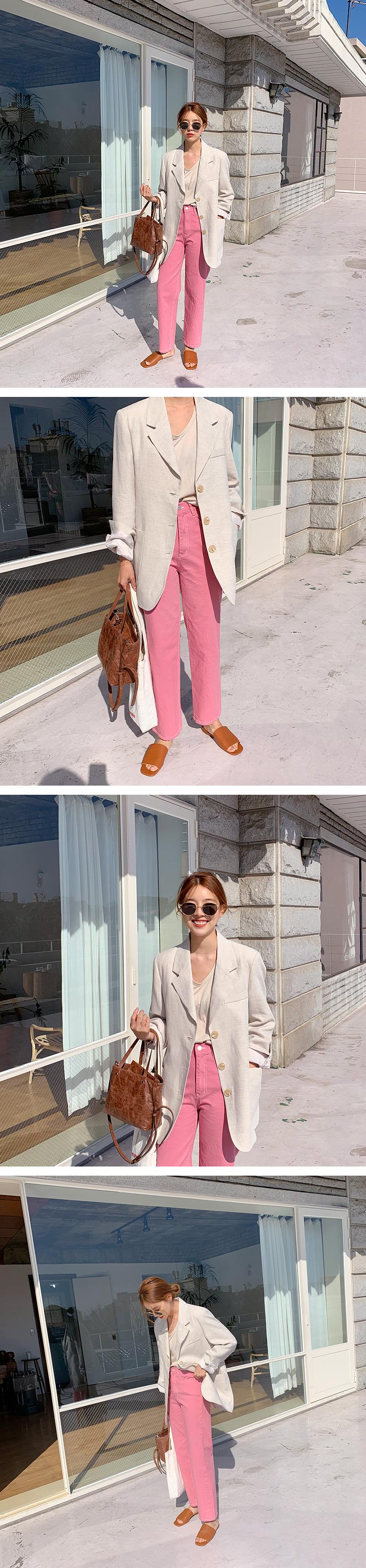 Color straight cotton pants_M