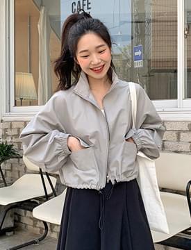 韓國空運 - 束口下擺素色短版風衣外套(4色) zip-up