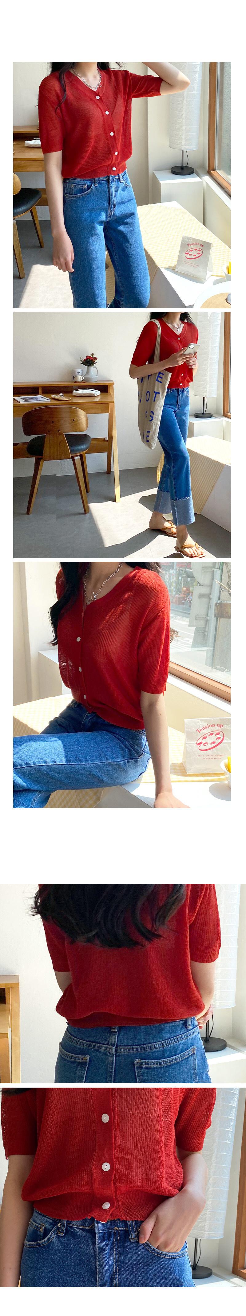 Niven V short-sleeved cardigan