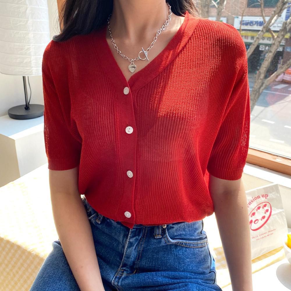 Niven V short-sleeved cardigan 開襟衫