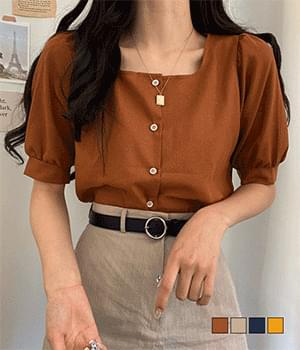 Indie linen square short sleeve blouse