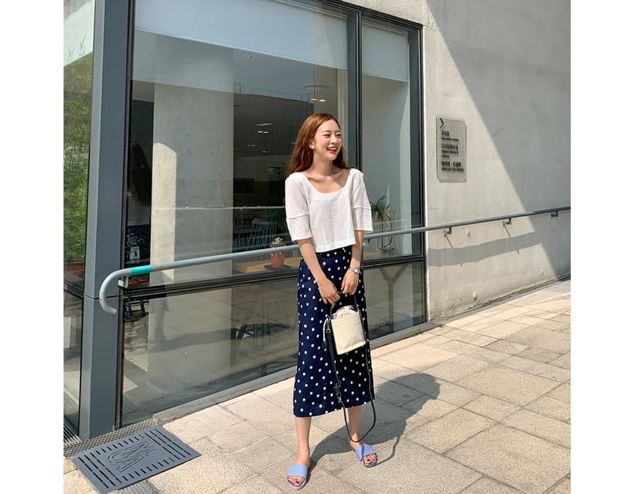 Dot linen long skirt_J (size : free)