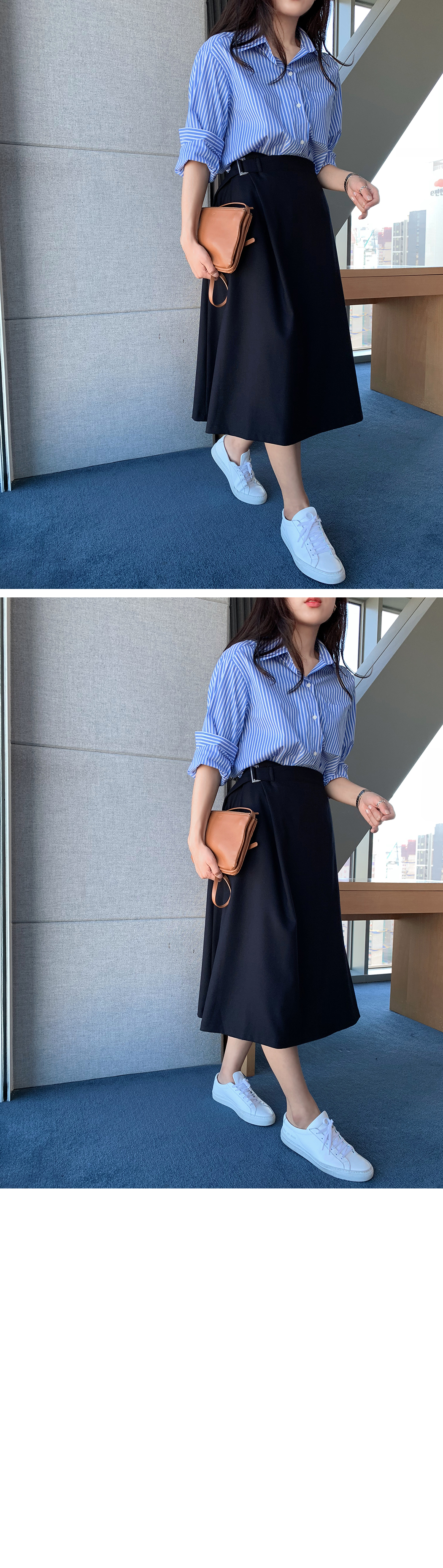 With buckle belt wrap skirt