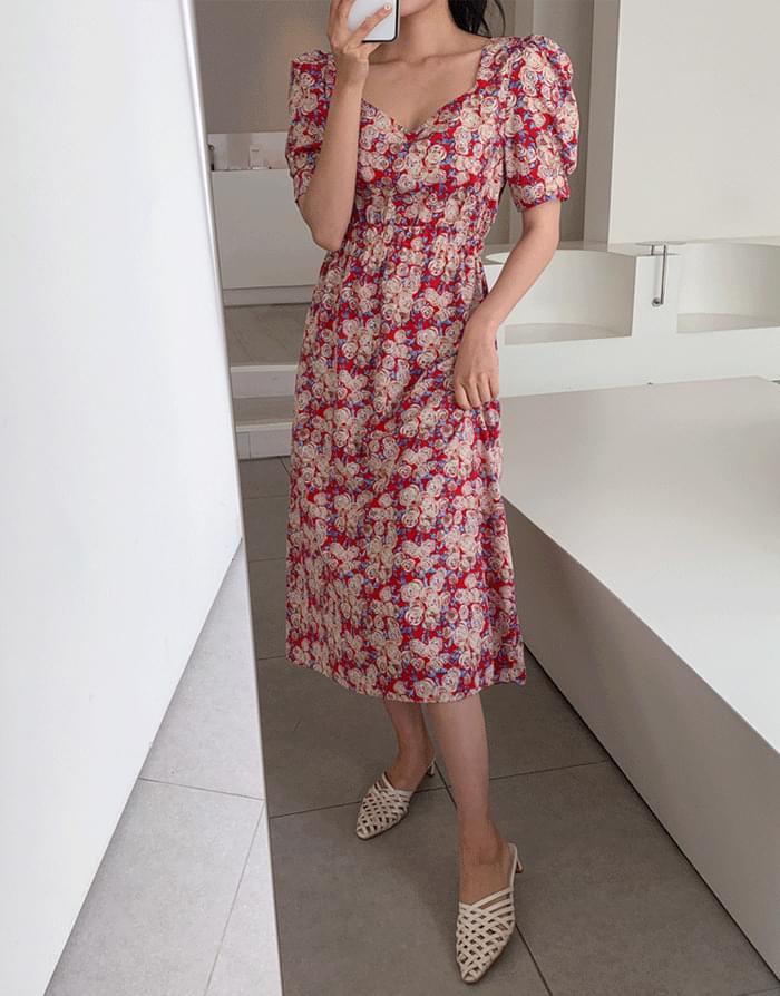 韓國空運 - Rose Banding Dress 及膝洋裝