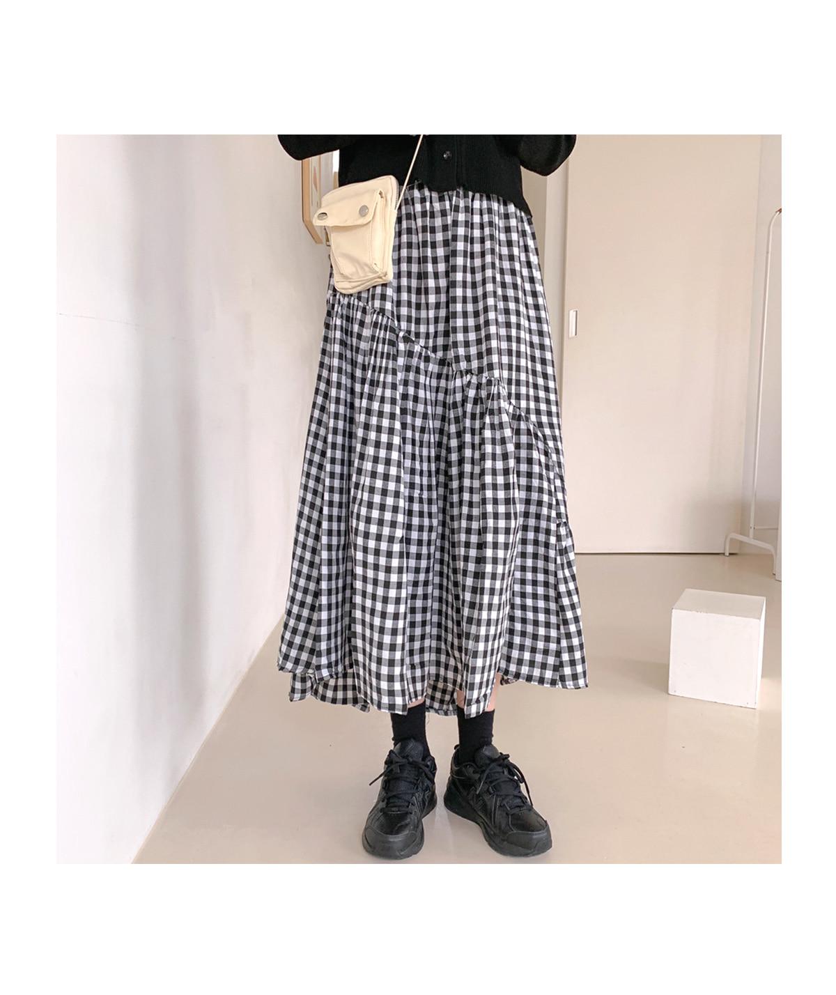 Unval Cree Check Long Skirt