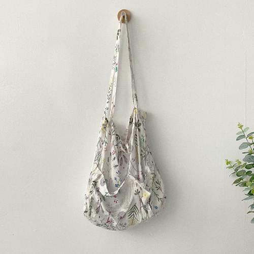 清新花草圖案綁帶環保袋