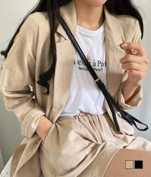 Linen jacket + shorts two piece set