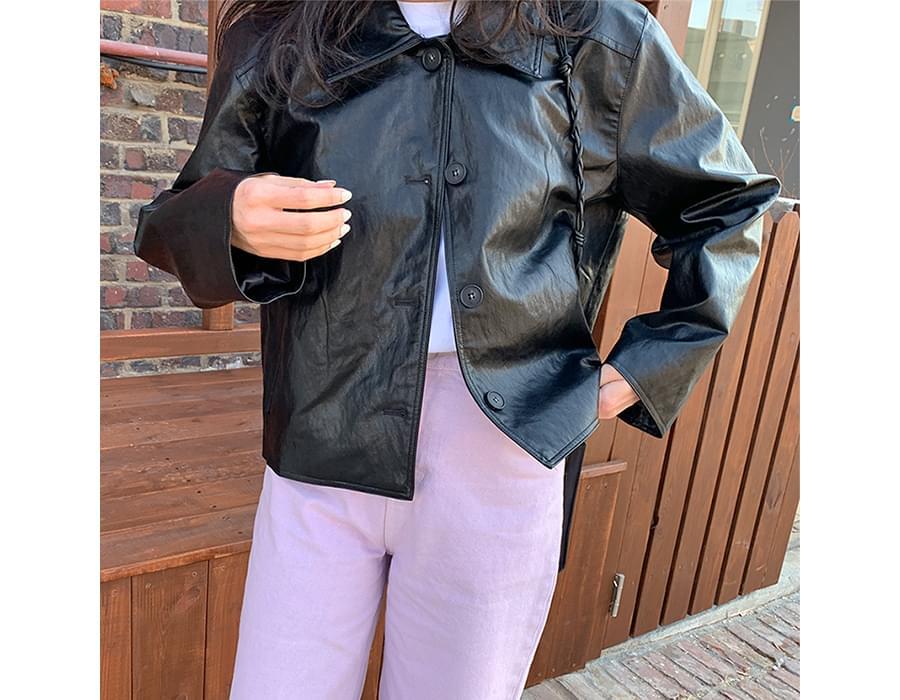 Girlish leather jacket_P