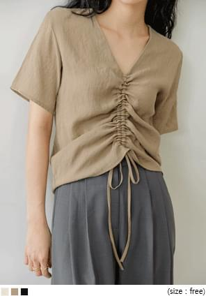 JOIS V NECK SHIRRING 1/2 BLOUSE