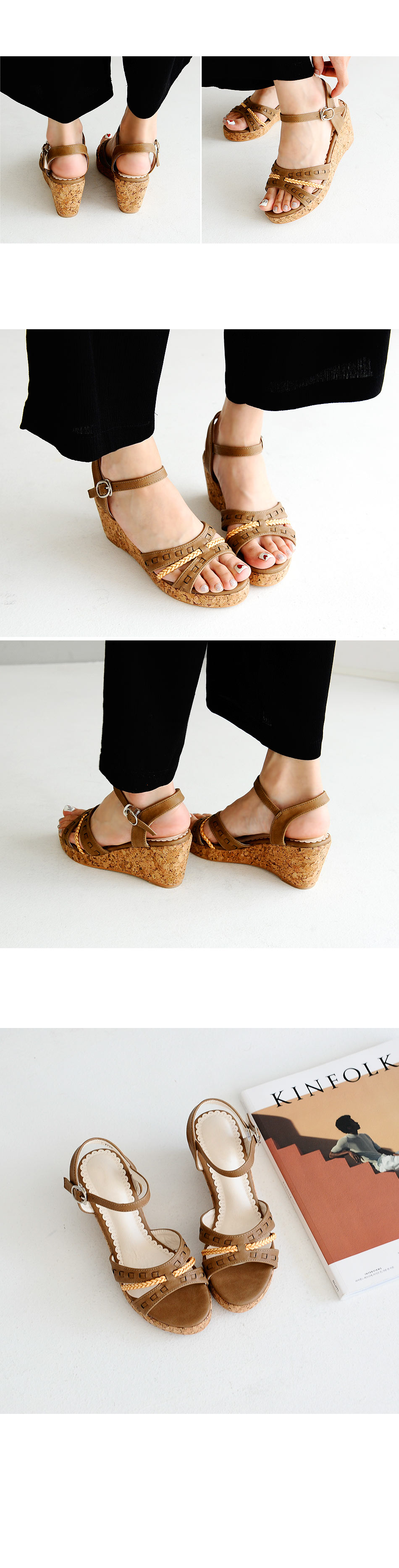 Kobellan Wedge strap sandals 7cm