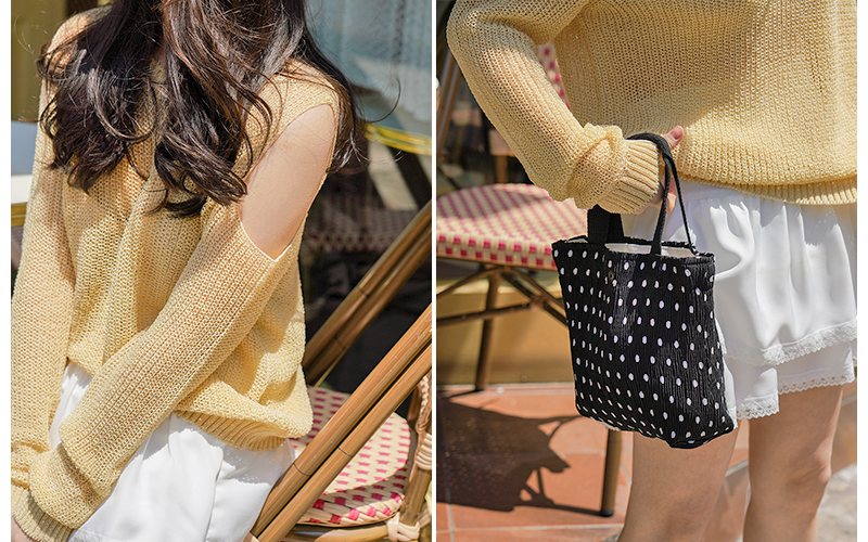 Crease Wrinkle Pleated Tote Bag