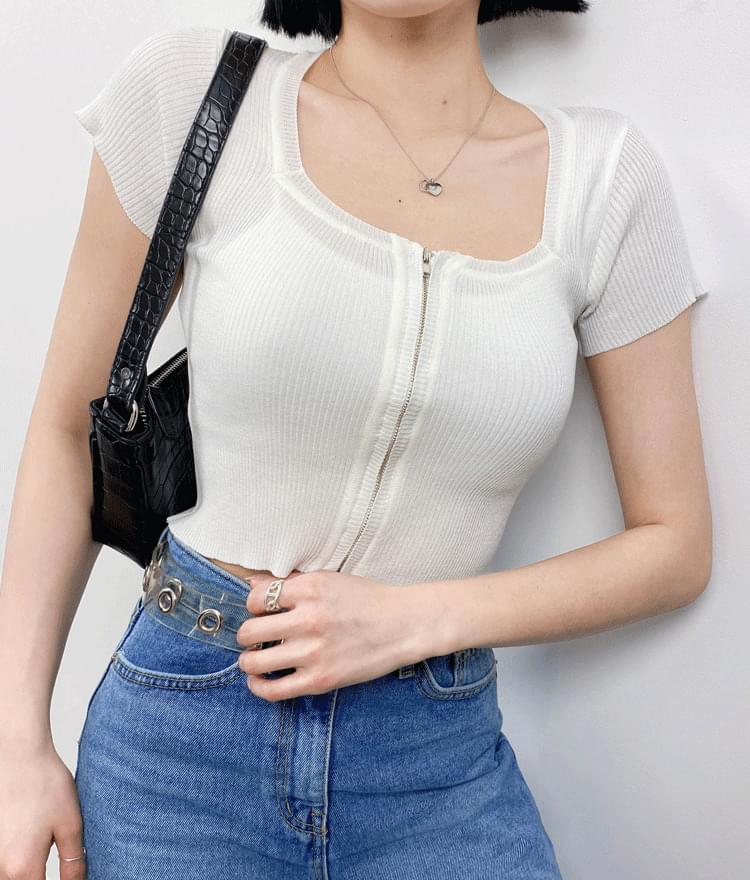 Square zipper cardigan 開襟衫