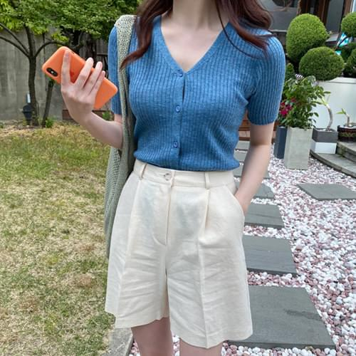 Soft Touch Slim Fit Short Sleeve Cardigan-Blue, Orange