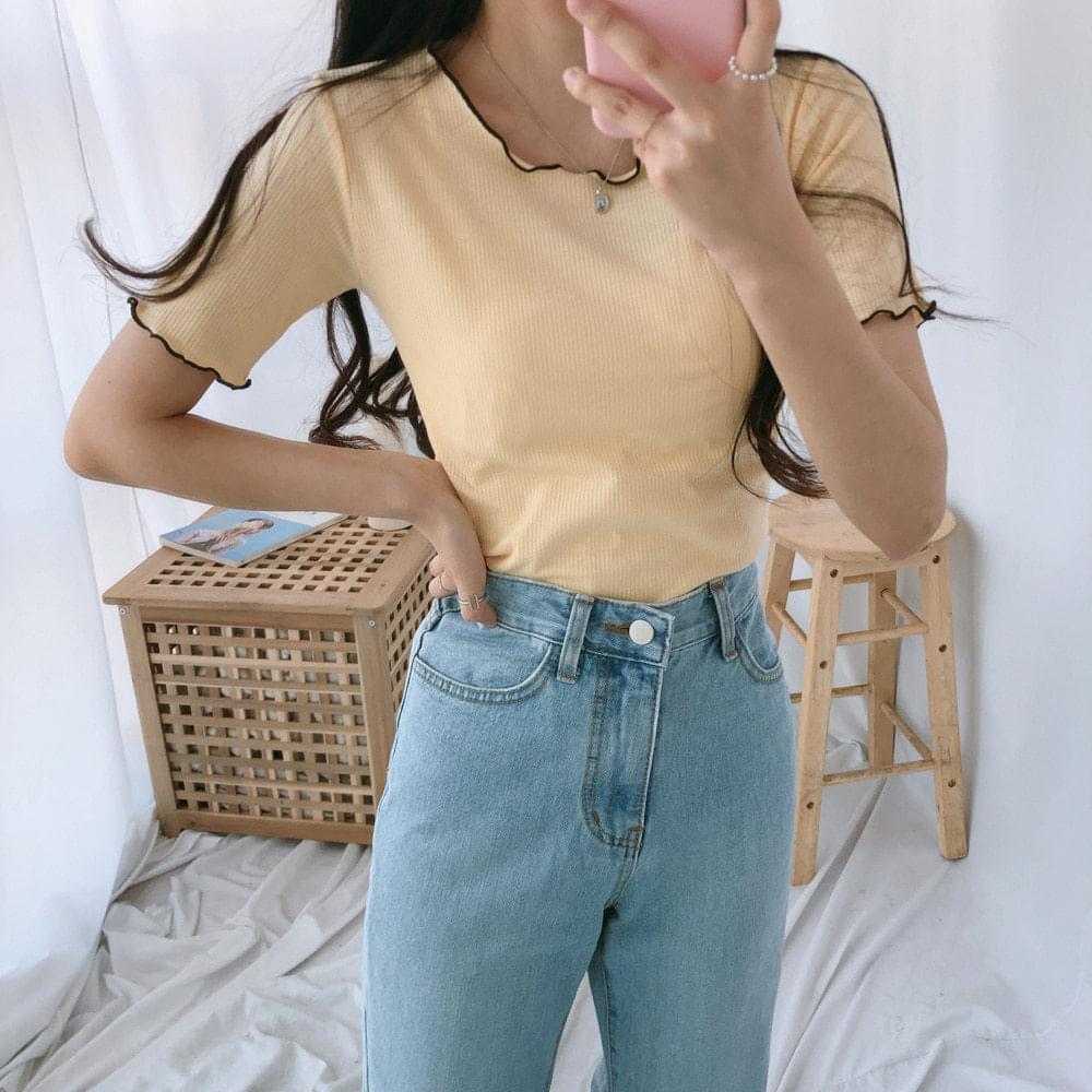 滾黑捲邊短袖修身T恤(4色)
