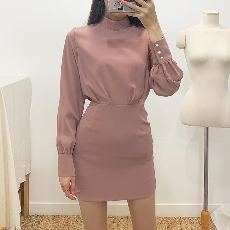 Opie Pearl Button Mini Dress