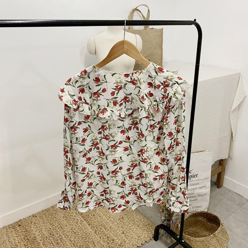 Elia flower frill collar blouse