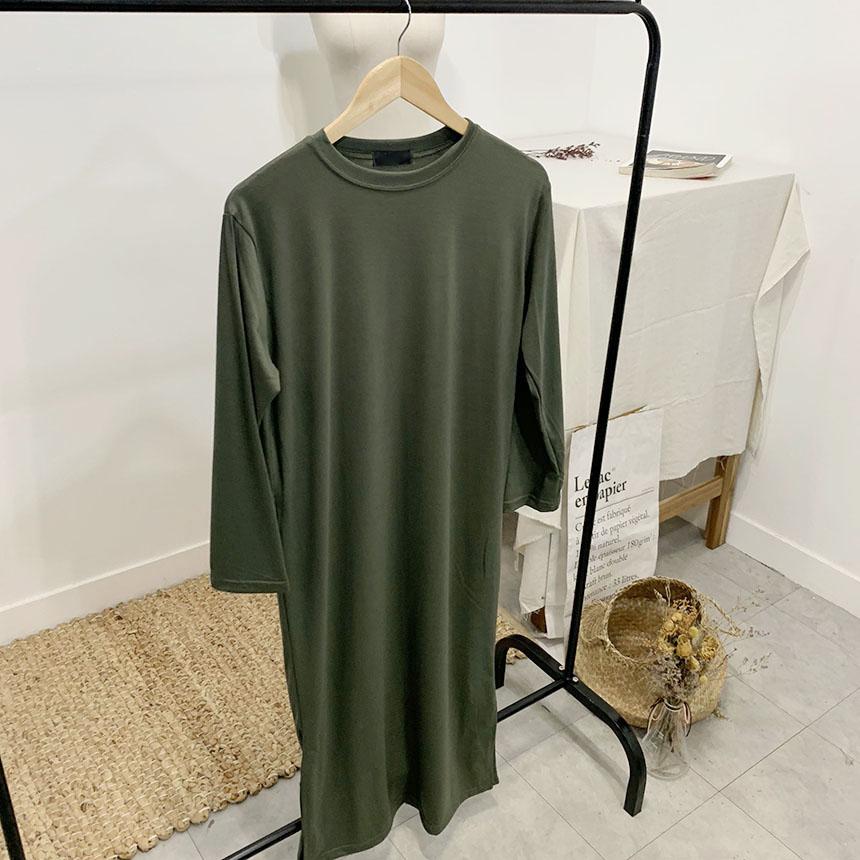 Luthering Plain Long T-Shirt Dress 5colors