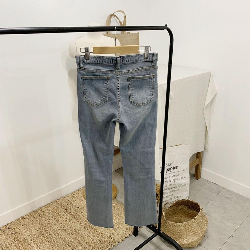 Stand semi-bootcut denim pants