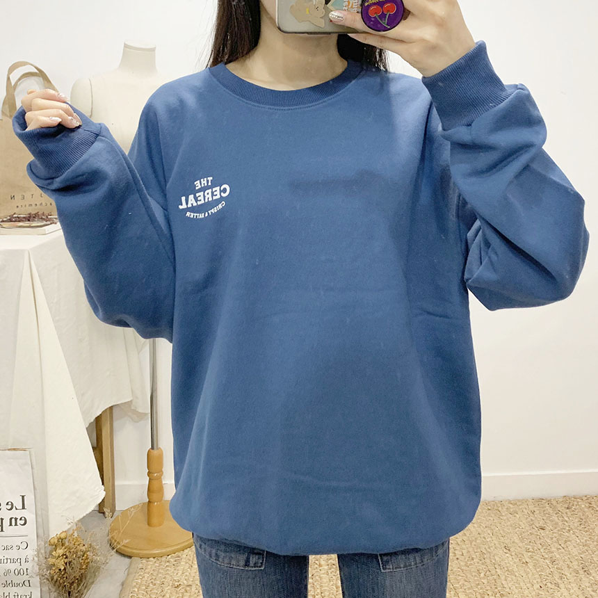 Serial printing round neck sweat shirt