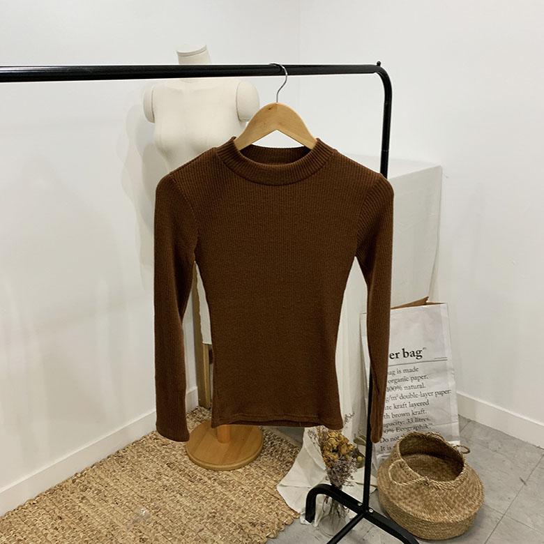 Repetit Ribbed Half-neck Long Sleeve T-Shirt