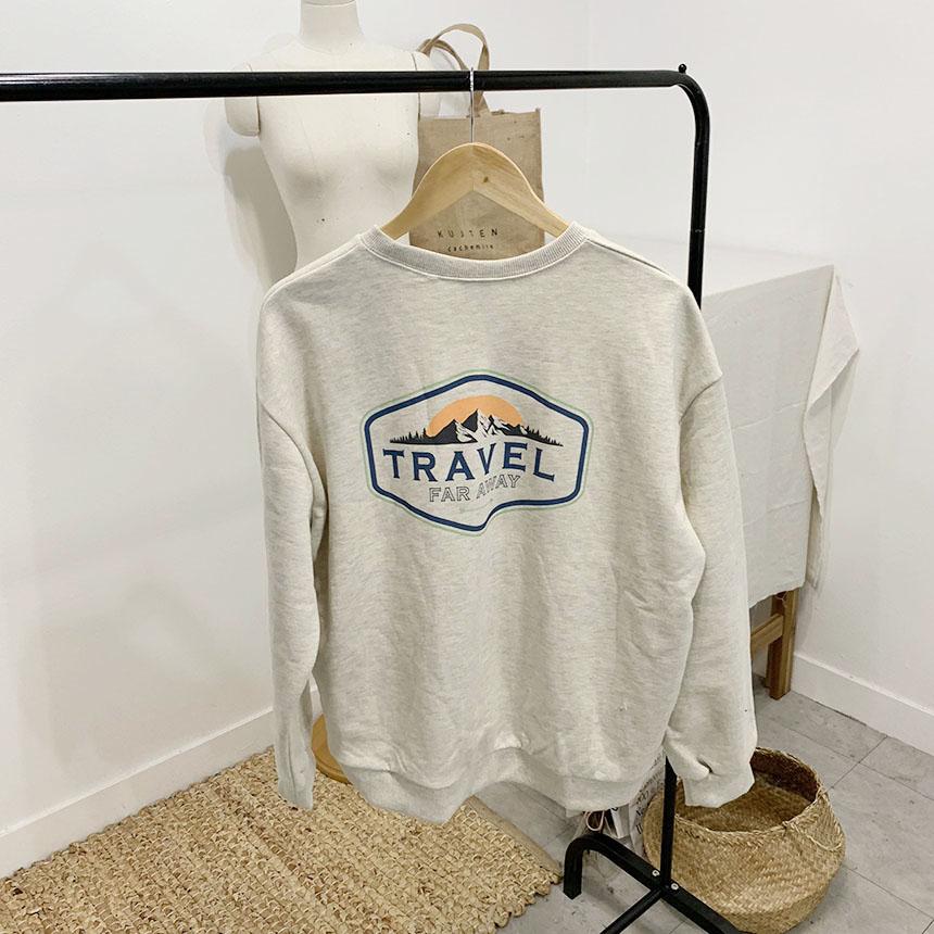 Travel printing round neck sweat shirt