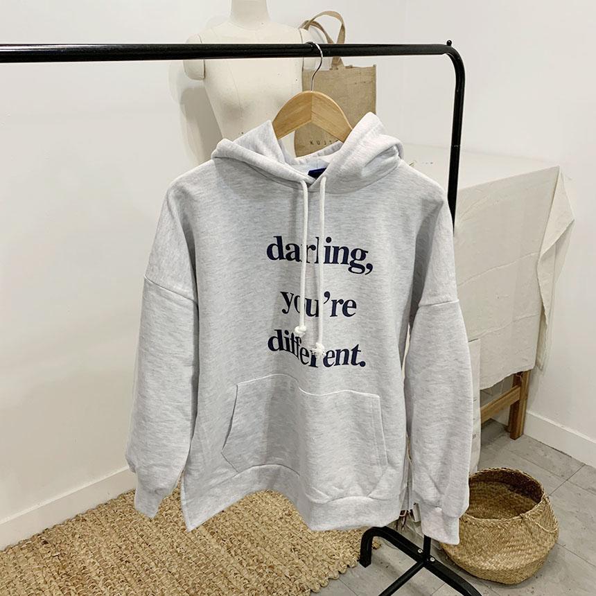 Darling You Pocket Lettering Hooded T-shirt