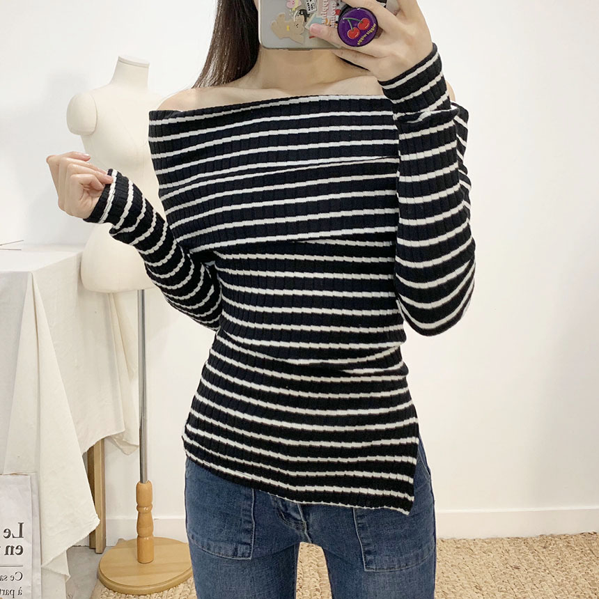 Melthy Striped Off Shoulder T-Shirt 2colors