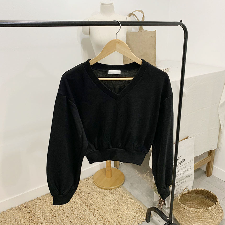 Mirrorson V-neck cropped long-sleeved man-to-man