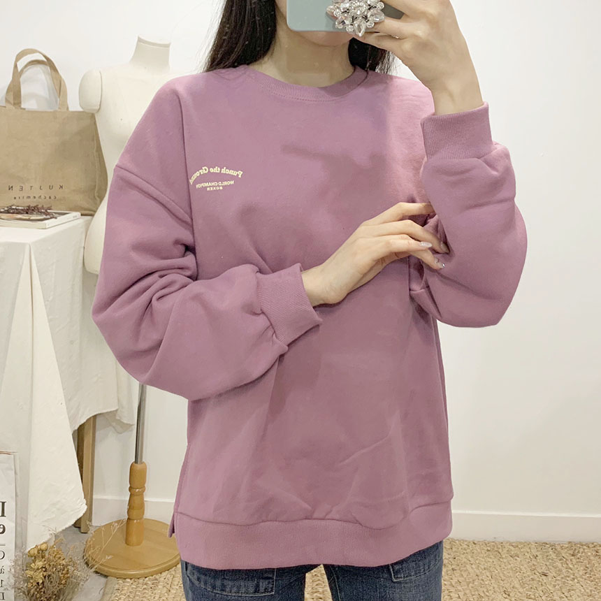 Punch printing round neck sweat shirt