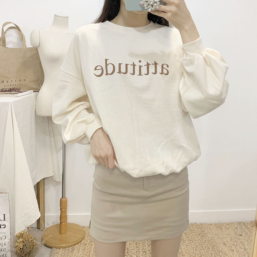 Etiquette lettering round neck sweat shirt