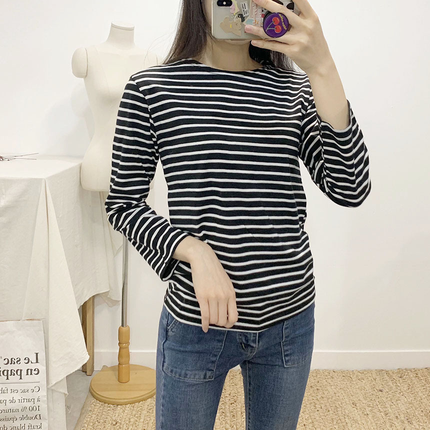 Roaming striped round t-shirt 7colors