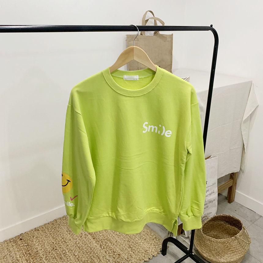 Smile printing round neck sweat shirt