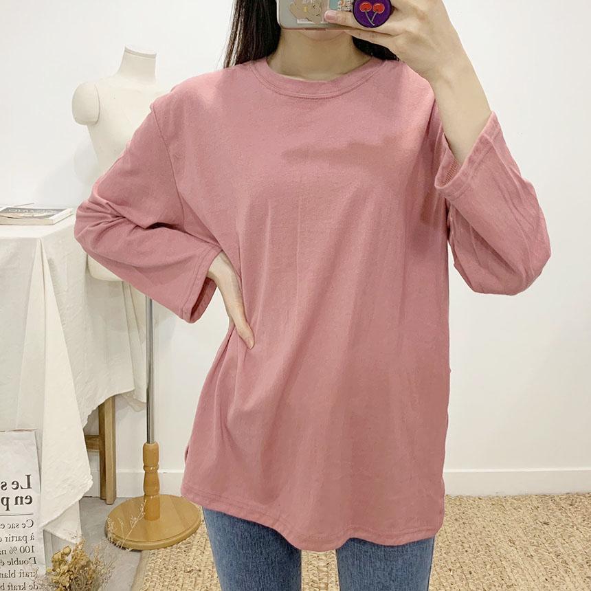 Non-Apple Slit Round Neck Long Sleeve T-Shirt